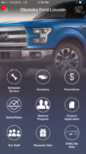 Mobile App for Okotoks Ford Lincoln - homepage