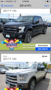 Mobile App for Okotoks Ford Lincoln - inventory page
