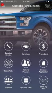 Mobile App for Okotoks Ford Lincoln - homepage