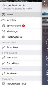 Mobile App for Okotoks Ford Lincoln - navigation menu